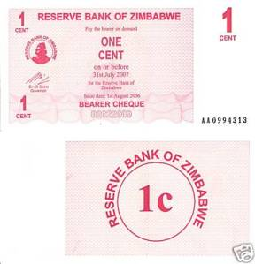 Zimbabwe 1 Cent Note - Pre-inflation