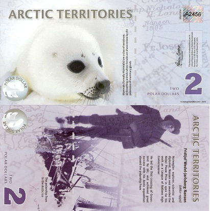 2011 $8 Arctic Territories Polymer UNC /> Polar Bears