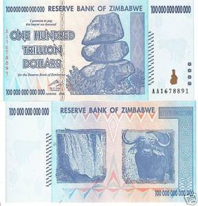 Zimbabwe's One Trillion Dollar Note