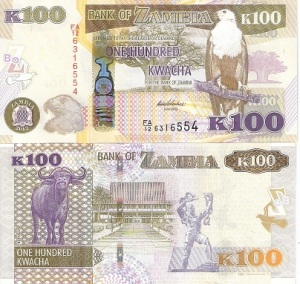 Zambia 100 Kwacha Note - available for purchase at robertsworldmoney.com