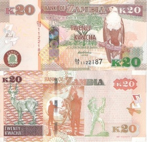 Zambia 20 Kwacha Note- available for purchase at robertsworldmoney.com