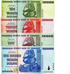 ZImbabwe Mega-inflation Banknote Set -  available for purchase at robertsworldmoney.com.