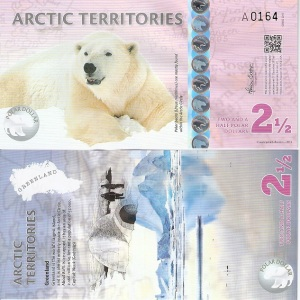 Arctic Territories 2 and 1/2 Dollar Note