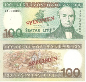 Lithuania 100 Litu Currency Pamphlet 1991