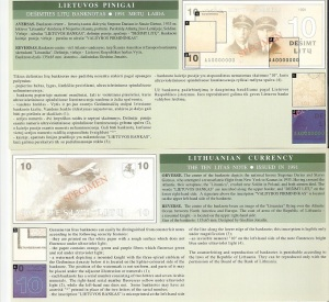 Lithuania 10 Litu Currency Pamphlet - Inside