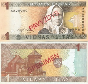 Lithuania 1 Litu Currency Pamphlet 1994
