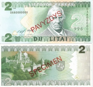 Lithuania 2 Litu Currency Pamphlet 1994