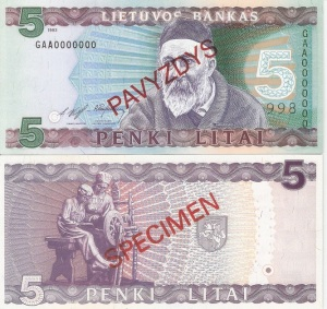 Lithuania 5 Litu Currency Pamphlet