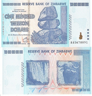 50000 World Currency 100 Trillion Series 2008 P-74 ZIMBABWE 50,000 Dollars