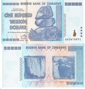 Zimbabwe 100 Trillion Dollar p91 Banknote