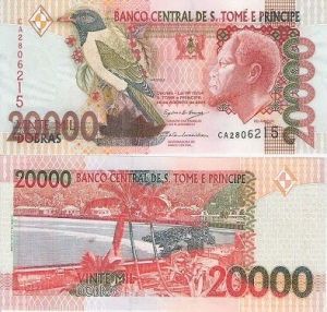 Sao Tome 20,000 Dobras - available for purchase at robertsworldmoney.com.  See all Suriname banknotes.