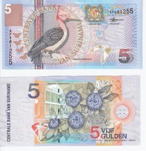 Suriname 5 Gulden p146 - available for purchase at robertsworldmoney.com. See other Suriname banknotes.