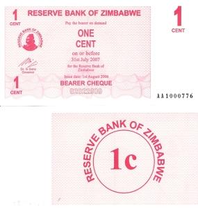 Zimbabwe 1 Cent p33 Banknote
