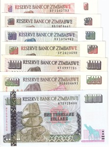 Zimbabwe 5-1000 s5, 6, 7, 8, 9, 11, 12 7 Banknote Set