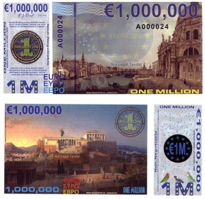 Euro 1 Million Polymer Fun Note by Rick Reed