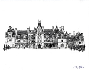 Biltmore House Line Drawing by Tom Stebbins