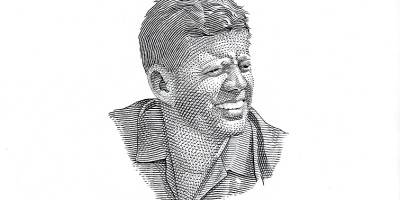 John F Kennedy line drawing by Tom Stebbins