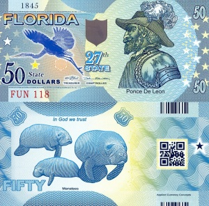 Save the Manatee PackageOffered by robertsworldmoney.comFlorida $50 BanknotePrinted Banknote Info Page$4.00 to Save the Manatee