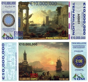 10 Million Euro Banknote Available at robersworldmoney.com