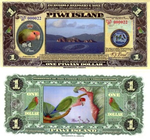 Piwi Island 1 Piwian Dollar Banknote Available at robertsworldmoney.com