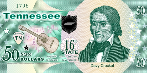 Front side featuring Davy Crockett