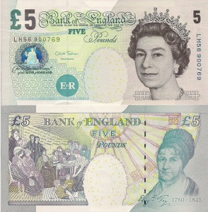 English 5 Pound (Fiver) Banknote - available for purchase at robertsworldmoney.com