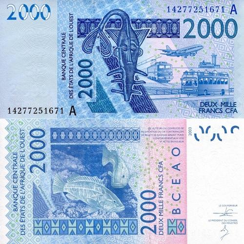 Ivory Coast (A) 2,000 Francs baknote