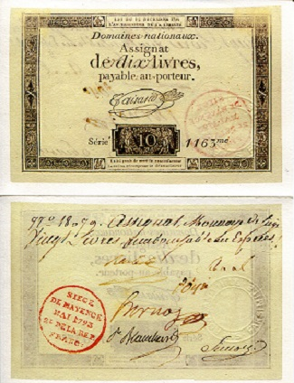 French Signed Assignat Reprint