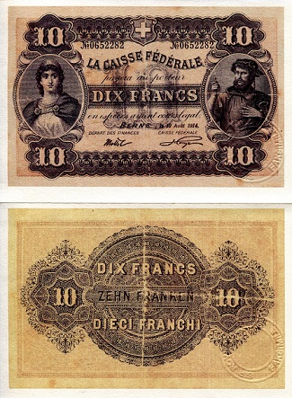 Swiss 10 Francs (1914) - Reprint