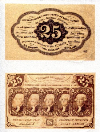 USA Fractional Currency 25 cents (1862) - Reprint