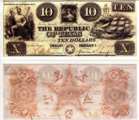 Republic of Texas 10 Dollars - Reprint