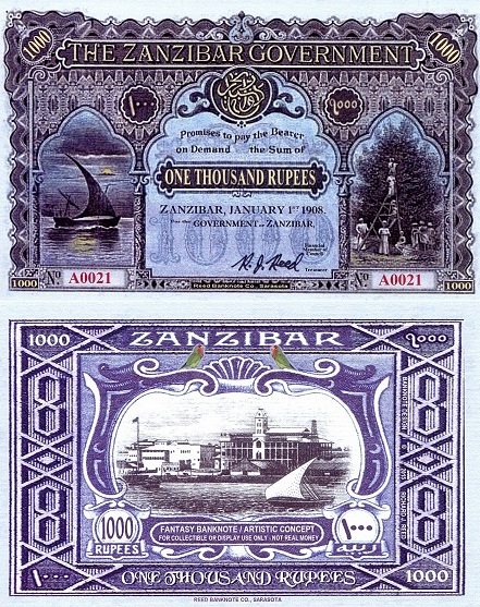 Zanzibar 1,000 Rupee Fun Note