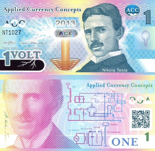 Tom Stebbins fun note featuring Nikola Tesla